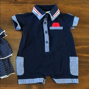 Baby boy onesies with pocket square.
